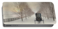 Snowy Amish Lane Portable Battery Charger