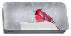 Portable Battery Charger featuring the photograph Snowy Cardinal by Lori Coleman