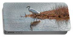Snowy Egret Hunting A Salt Marsh Portable Battery Charger