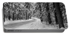 Snowy Forest Road In Winter Portable Battery Charger