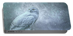 Snowy Owl In Winter Portable Battery Charger