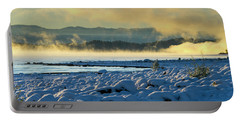Snowy Shoreline Sunrise Portable Battery Charger