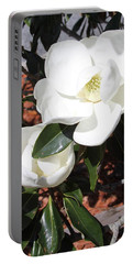 Snowy White Gardenia Blossoms Portable Battery Charger