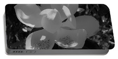 Southern Magnolia In Black And White Portable Battery Charger