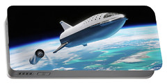 Portable Battery Charger featuring the digital art Spacex Bfr Big Falcon Rocket With Earth by Pic by SpaceX Edit by M Hauser