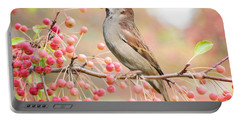 Sparrow Eating Berries Portable Battery Charger