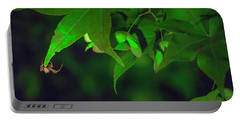 Spider At Night On A Leaf Portable Battery Charger