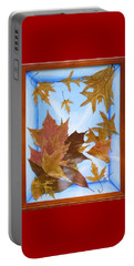 Portable Battery Charger featuring the mixed media Splattered Leaves by Elly Potamianos