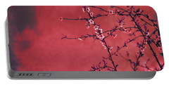 Spring Blossom Border Over Red Arty Textured Background. Chinese Portable Battery Charger