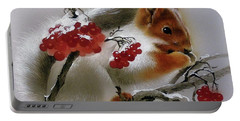 Squirrel With Rowan Berries Portable Battery Charger