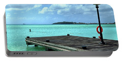 Portable Battery Charger featuring the photograph St. Maarten Pier In Aqua Caribbean Waters by Bill Swartwout Fine Art Photography