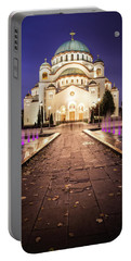 St. Sava Temple In Belgrade Nightscape Portable Battery Charger
