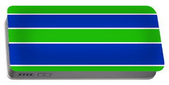 Stacked - Navy, White, And Lime Green Portable Battery Charger