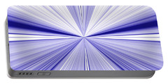 Starburst Light Beams In Blue And White Abstract Design - Plb455 Portable Battery Charger