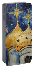 Portable Battery Charger featuring the painting Stars Near And Far by Maria Langgle