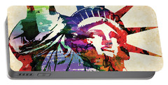 Statue Of Liberty Colorful Watercolor Portable Battery Charger