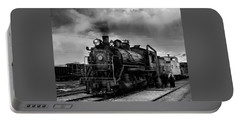 Steam Locomotive In Black And White 1 Portable Battery Charger