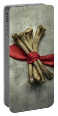Still Life With Bones And Red Ribbon Portable Battery Charger