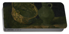 Still Life With Brass Cauldron And Jug Portable Battery Charger