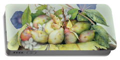Still Life With Plums, Walnuts And Jasmine Portable Battery Charger