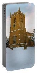 Stone Church In The Snow At Sunset Portable Battery Charger