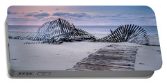 Portable Battery Charger featuring the photograph Storm Fence Sunrise by Steve Stanger