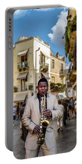 Street Music. Saxophone. Portable Battery Charger