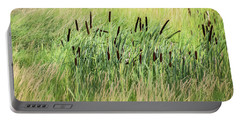 Summer Cattails In Field Of Grass - Portable Battery Charger