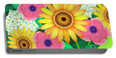 Summer Flowers In Coffee Pot Portable Battery Charger