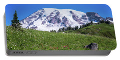 Summertime View Of Mt Rainier Portable Battery Charger