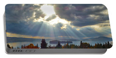 Sun Rays Over Rangeley Lake Portable Battery Charger