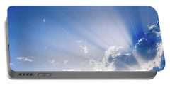 Sunbeams Rising From A Large Cloud In Intense Blue Sky On A Summer Afternoon Portable Battery Charger