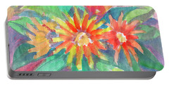 Portable Battery Charger featuring the painting Sunflowers by Dobrotsvet Art