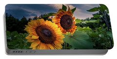 Sunflowers In Evening Portable Battery Charger