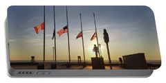 Portable Battery Charger featuring the photograph Sunrise At Firefighter Memorial by Robert Banach