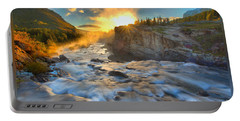 Sunrise At Swiftcurrent Falls T-shirt Portable Battery Charger