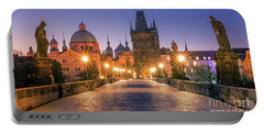 Sunrise At The Charles Bridge In Prague Portable Battery Charger