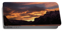 Sunrise Over Lake Minnewanka, Banff National Park, Alberta, Cana Portable Battery Charger