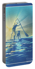 Portable Battery Charger featuring the digital art Sunrise Paddle Boarder by Sassan Filsoof