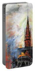 Sunset On Notre Dame Portable Battery Charger