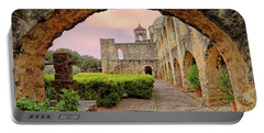 Sunset Over Mission San Jose - San Antonio Texas - Catholic Mission Portable Battery Charger