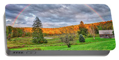Portable Battery Charger featuring the photograph Sunset Storm Rainbow - Upstate New York by Lynn Bauer