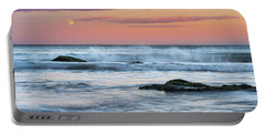 Super Moon And Sunset At Sozopol Town Beach Portable Battery Charger