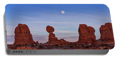 Super Moonrise At Balanced Rock Portable Battery Charger