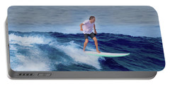 Portable Battery Charger featuring the painting Surfing Andy by Deborah Boyd