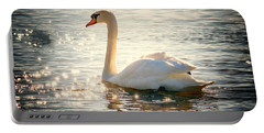 Swan On Golden Waters Portable Battery Charger