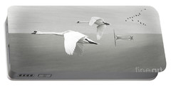 Swans At Sunrise Bw Portable Battery Charger