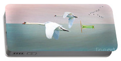 Swans At Sunrise Portable Battery Charger