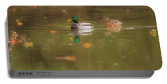 Portable Battery Charger featuring the photograph Swimming Ducks In Autumn by Dan Sproul