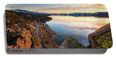 Tahoe Sunset Reflections Atop Cave Rock Portable Battery Charger